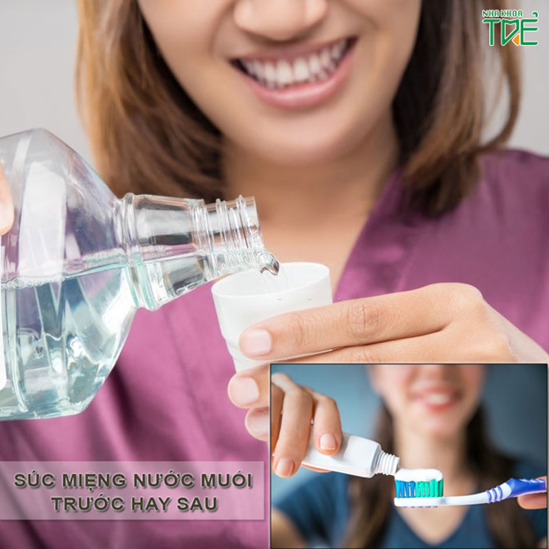 Súc miệng nước muối trước hay sau khi đánh răng?